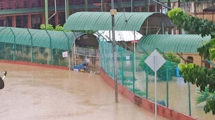 Sm St Michael in Penampang inundated by flood water on June 28, 2020.