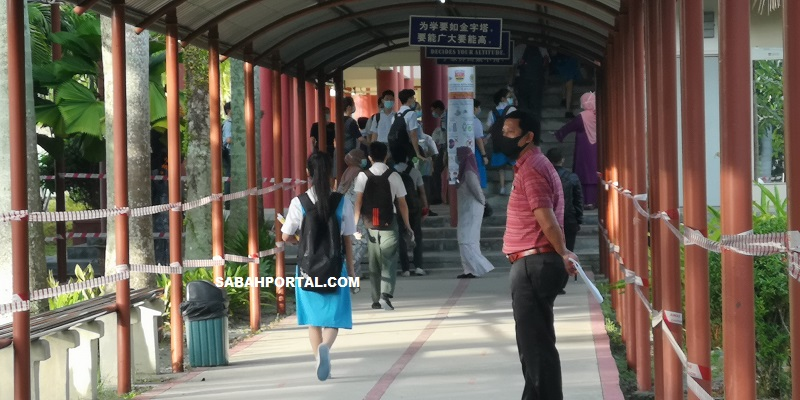 Back to school. Students seen walking towards their classroom after three months of holiday due to Covid-19.