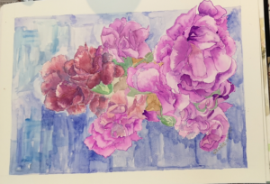 Purple Flower Art in Watercolour